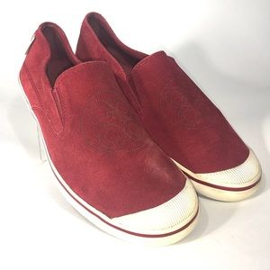 """Coach red suede """"Katrina"""" Slip On  sneakers 8B"""
